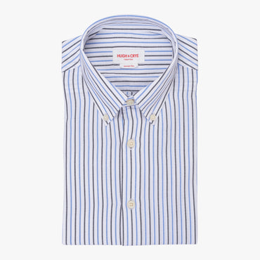 Silo Dark Blue Stripe Oxford Cloth Button-Down Shirt