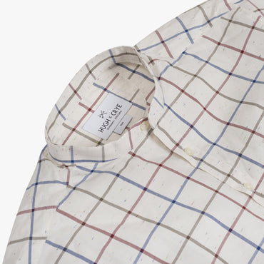 Band Collar popover in red and blue slub check - Stavro - Detail