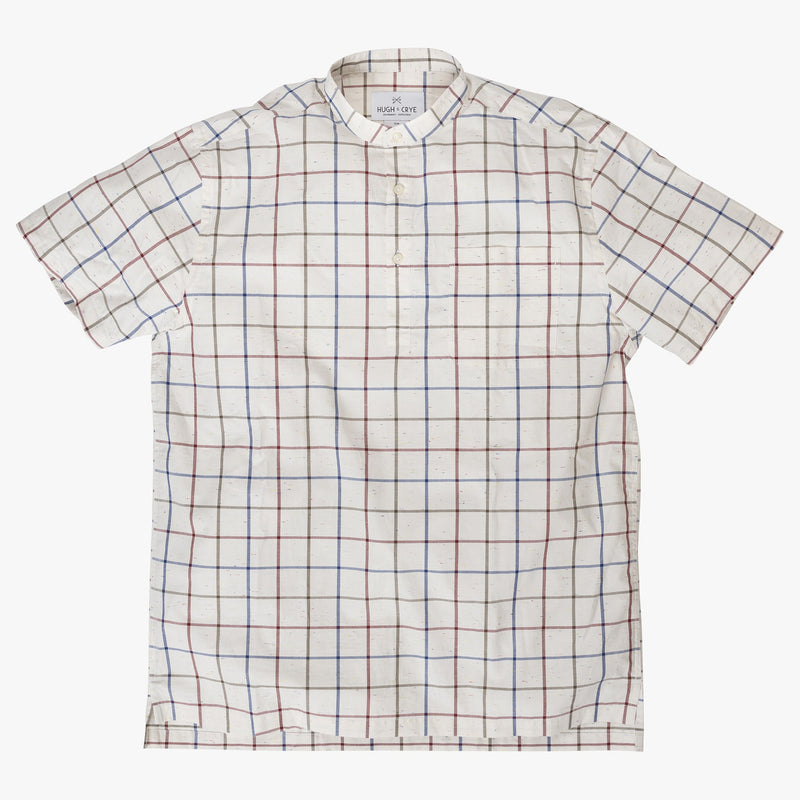Band Collar popover in red and blue slub check - Stavro - Splay
