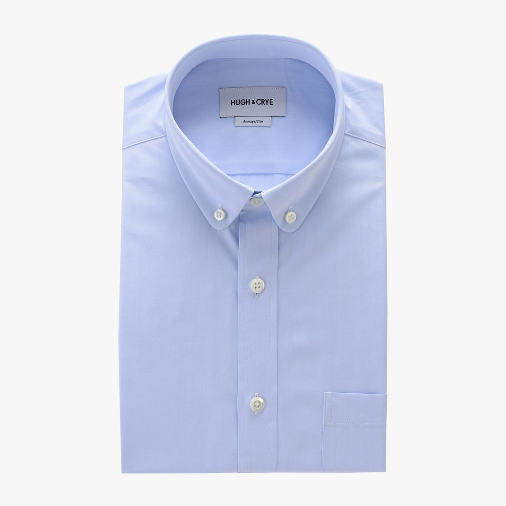 club button-down collar shirt in blue solid 120s poplin - tenley - flat