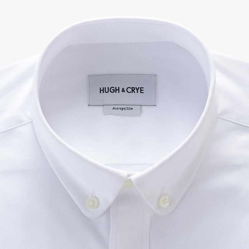 club button-down collar shirt in white solid 120s poplin - tenley - detail