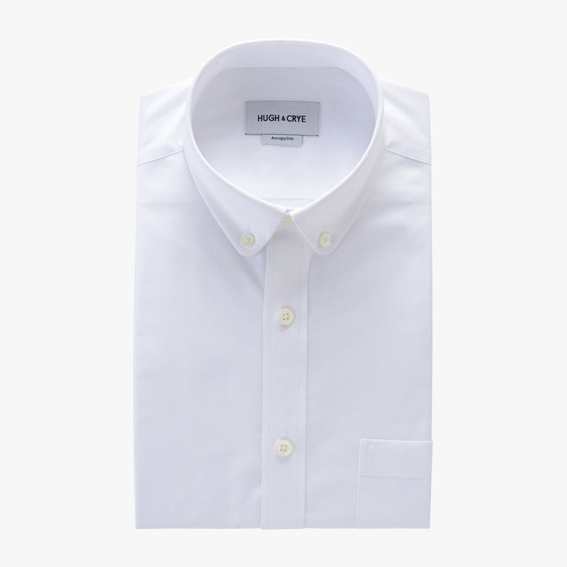 club button-down collar shirt in white solid 120s poplin - tenley - flat
