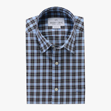 casual point collar shirt in blue, yellow plaid poplin - traveler - flat