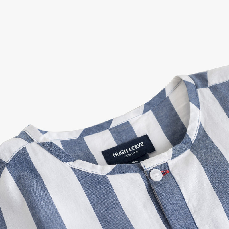 Collarless popover with indigo blue/white banker stripes - Tamariu - Detail