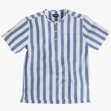Collarless popover with indigo blue/white banker stripes - Tamariu - Splay
