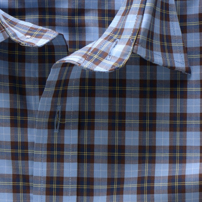 casual point collar shirt in blue, yellow plaid poplin - traveler - detail 2