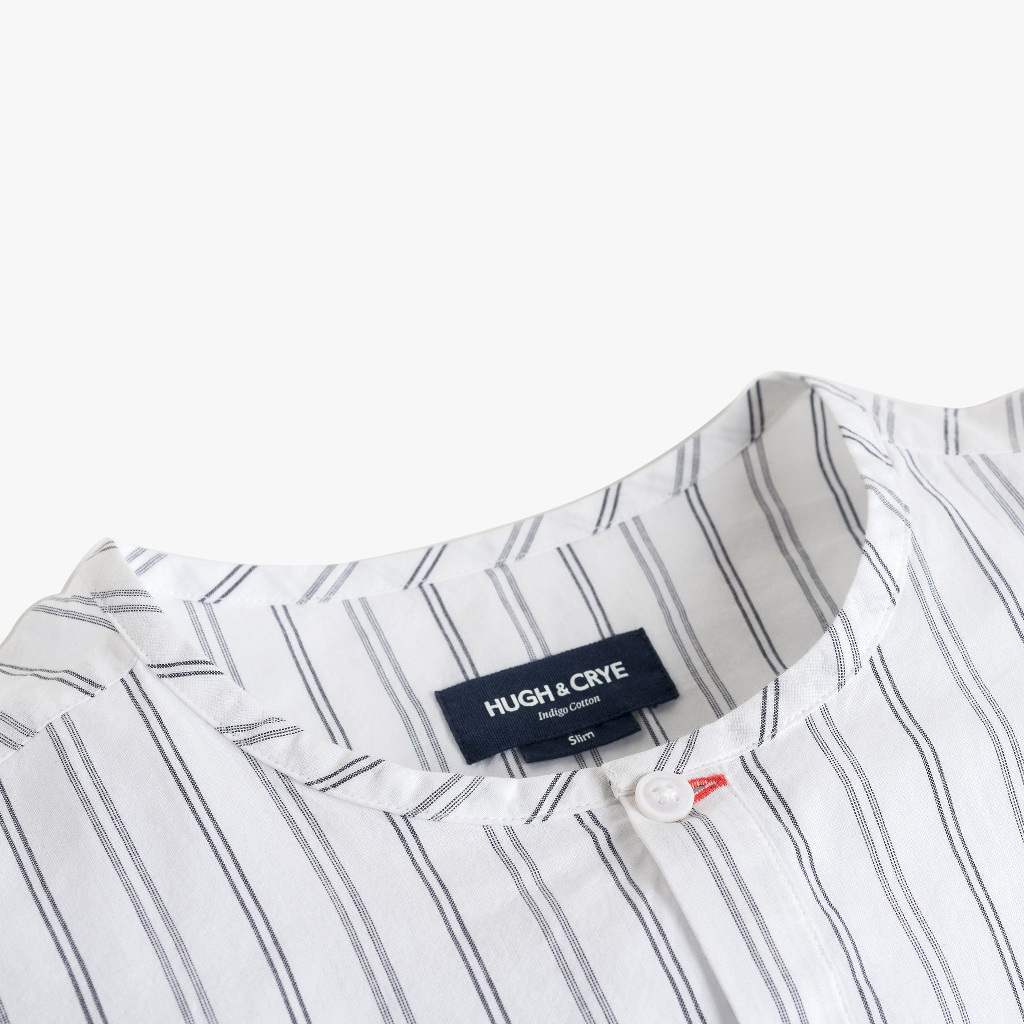 Collarless popover with indigo blue varying double stripes - Venice - Detail