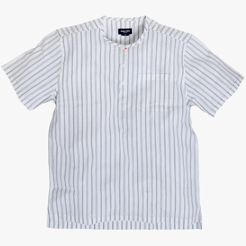 Collarless popover with indigo blue varying double stripes - Venice - Splay