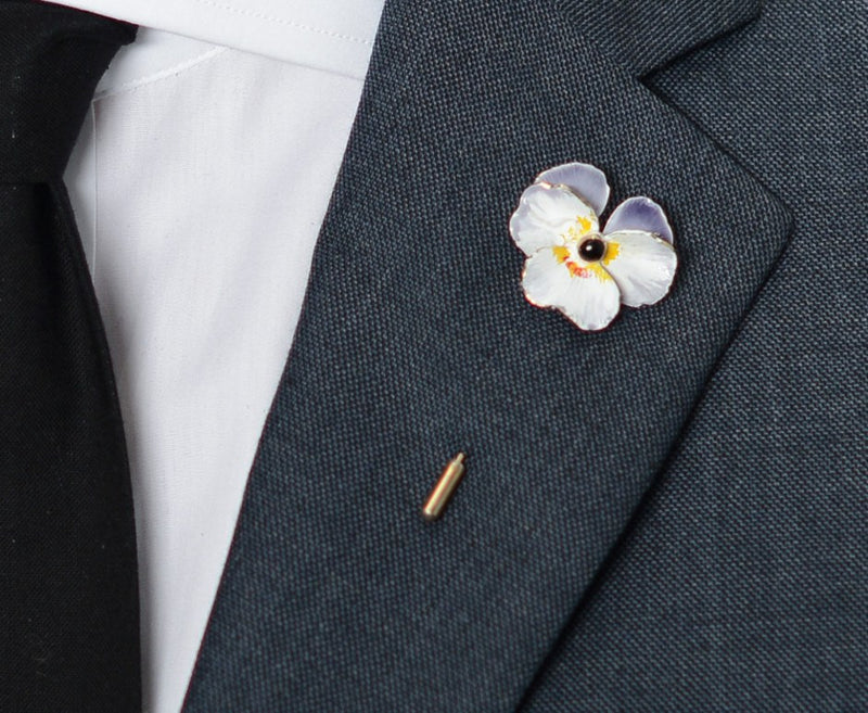 White Poppy Lapel Pin – Hugh & Crye - 3