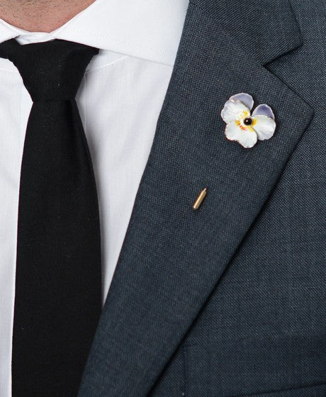 White Poppy Lapel Pin – Hugh & Crye - 2