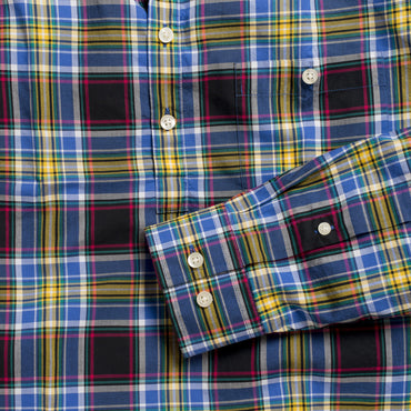 Button-down popover with black and yellow madras plaid - Wolfe - Detail