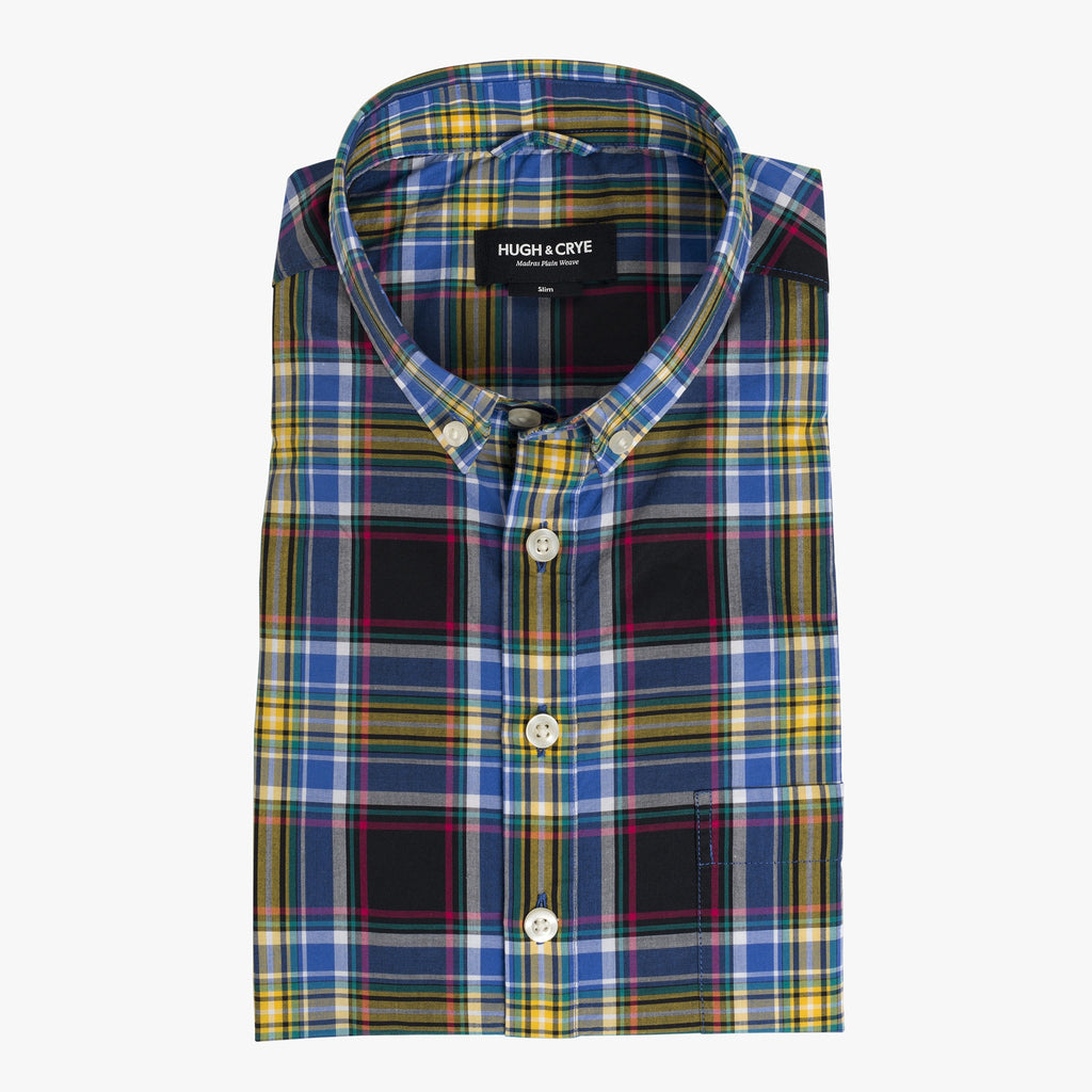 Button-down popover with black and yellow madras plaid - Wolfe - Flat