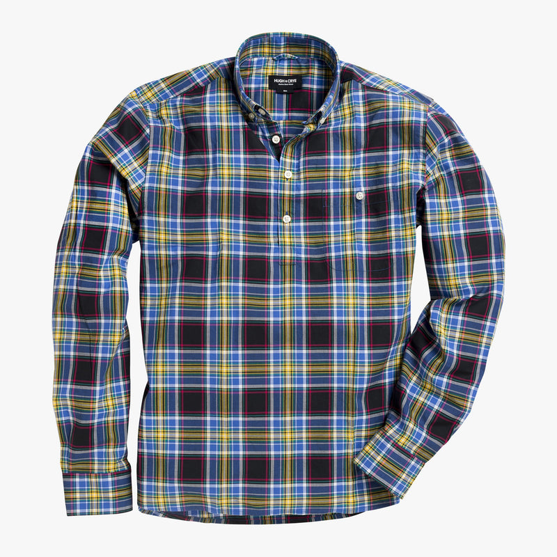 Button-down popover with black and yellow madras plaid - Wolfe - Splay