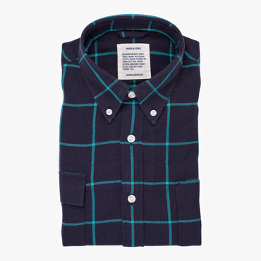 Indigo Teal Window Pane Check - Medium Weight Field Shirt - Swanson