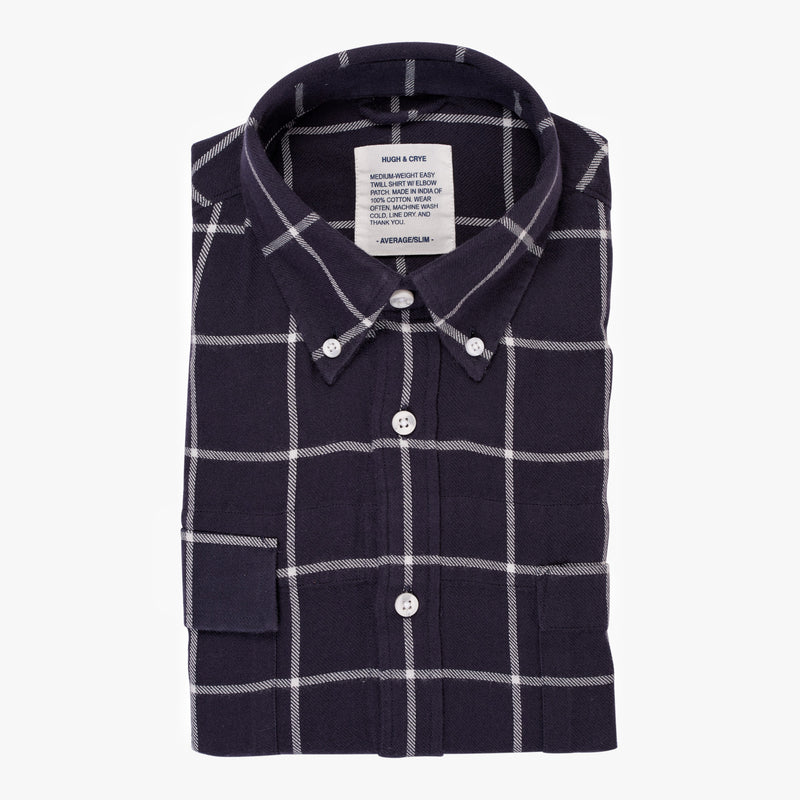 Indigo White Window Pane Check - Medium Weight Field Shirt - Swanson