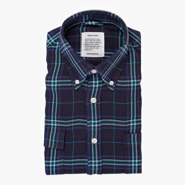 Indigo Light Blue Plaid - Medium Weight Field Shirt - Swanson