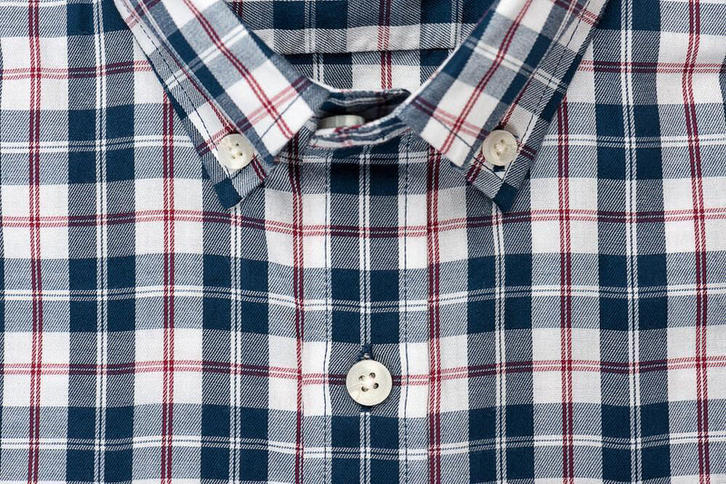 Teal red plaid brushed twill shirt collar - Hobson