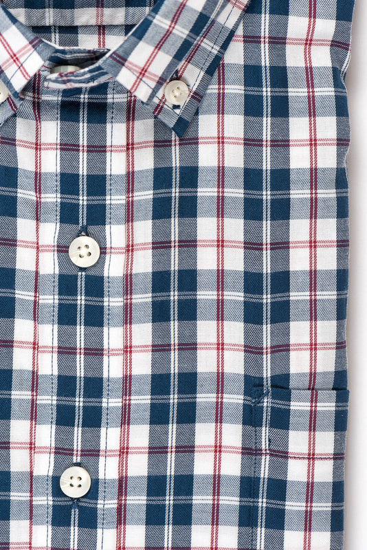 Teal red plaid brushed twill shirt fabric - Hobson