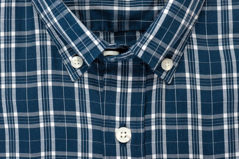 Teal white check brushed twill shirt collar - Ogden