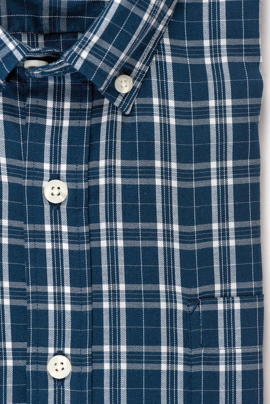 Teal white check brushed twill shirt fabric - Ogden