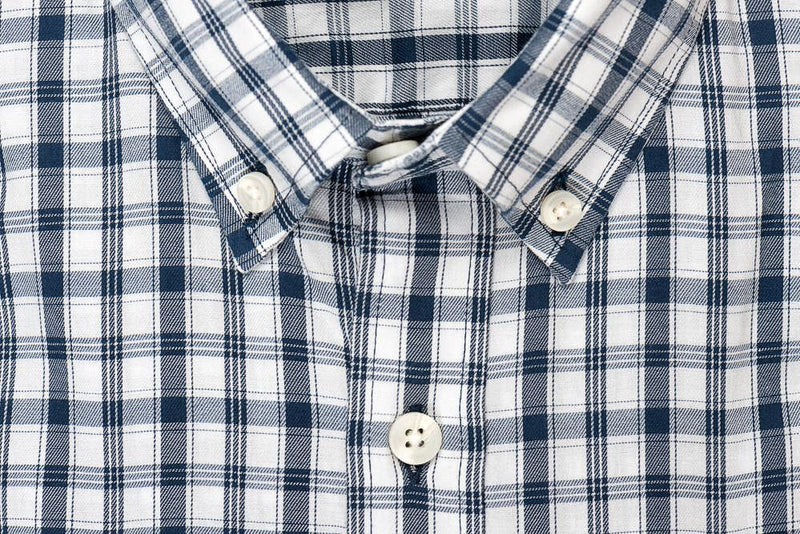 White blue check brushed twill shirt collar - Pullman