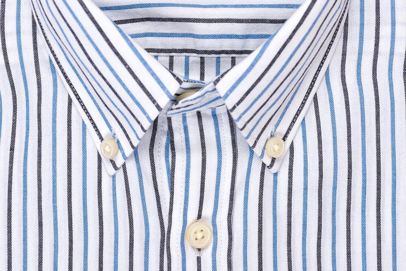 Silo Dark Blue Stripe Oxford Cloth Button-Down Shirt Collar