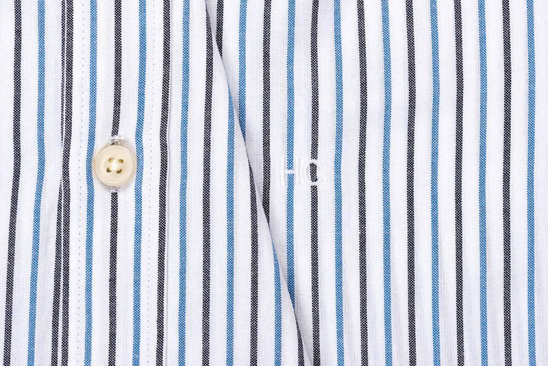 Silo Dark Blue Stripe Oxford Cloth Button-Down Shirt Monogram
