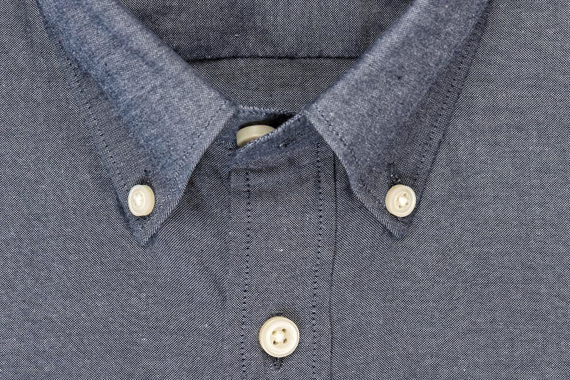 Silo Dark Indigo Chambray Oxford Button-Down Shirt Collar