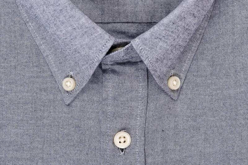 Silo Light Indigo Chambray Oxford Button-Down Shirt Collar