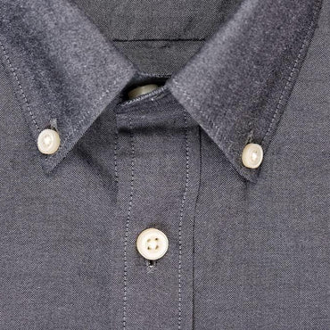 Silo Charcoal Oxford Cloth Button-Down Shirt Collar
