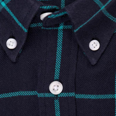 Indigo Teal Window Pane Check - Medium Weight Field Shirt Collar - Swanson