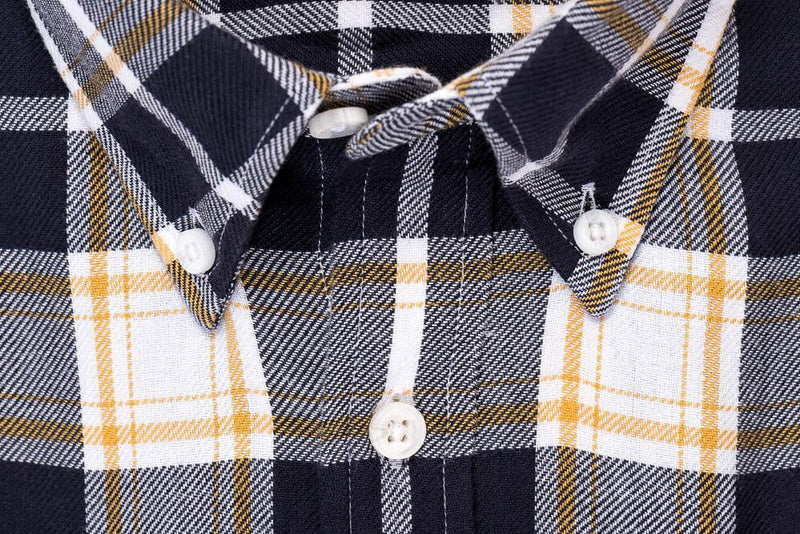 Indigo Yellow Plaid - Medium Weight Field Shirt Collar - Swanson