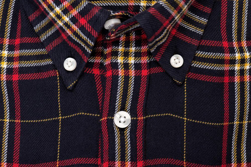 Indigo Red Plaid - Medium Weight Field Shirt Collar - Swanson