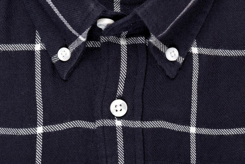 Indigo White Window Pane Check - Medium Weight Field Shirt Collar - Swanson