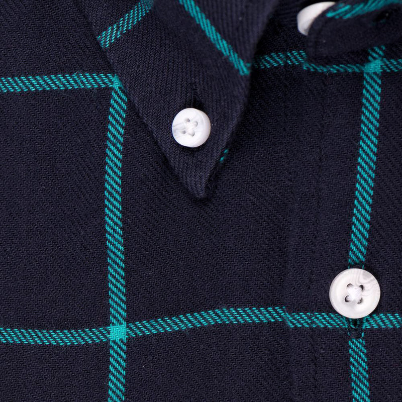 Indigo Teal Window Pane Check - Medium Weight Field Shirt Fabric - Swanson