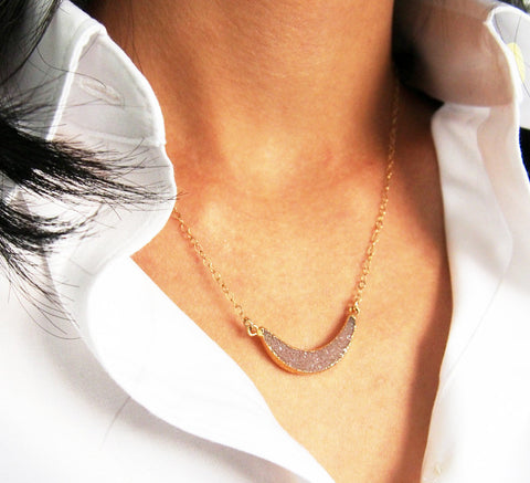 Gold Druzy Gemstone Crescent Moon Bar Necklace