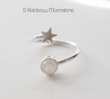 Star & Sun Dual Ring Sterling Silver Ring