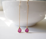 Gold Druzy Threader Earrings Chain Earrings Gemstone Earrings Wedding Jewelry