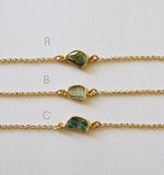 April Birthstone Raw Diamond Slice Free Form Gold Filled Chain Bracelet Jewelry