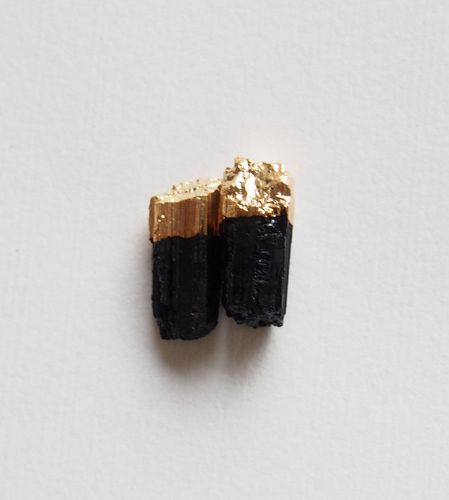 Raw Black Tourmaline Gemstone Gold Plated Stud Earrings