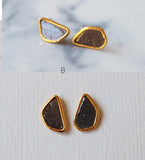 Free Form Black Raw Diamond Gemstone Gold Plated Stud Earrings