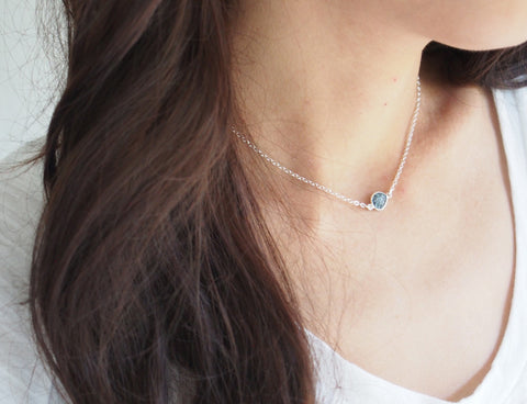 April Birthstone Raw Diamond Gemstone Sterling Silver Necklace
