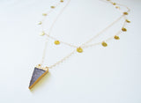 Triangle Druzy Gemstone Gold Dipper Layered Necklace