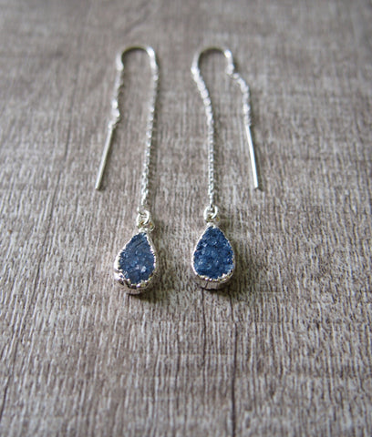 Gemstone Druzy Silver Threader Earrings