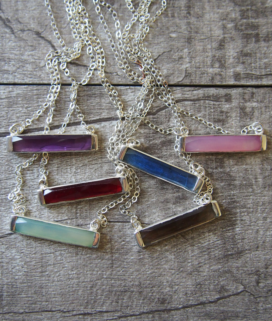 Gemstone Bar Sterling Silver Necklace