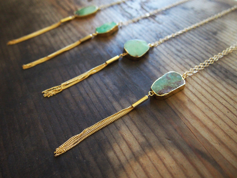 Tassel Australian Jade Necklace Boho Necklace Bohemian Jewelry Rough Gemstone Necklace