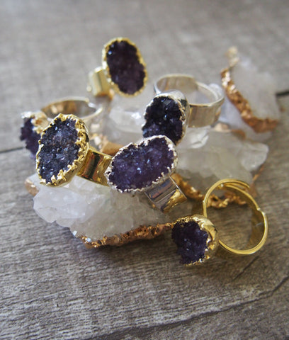 Amethyst Druzy Gold Ring