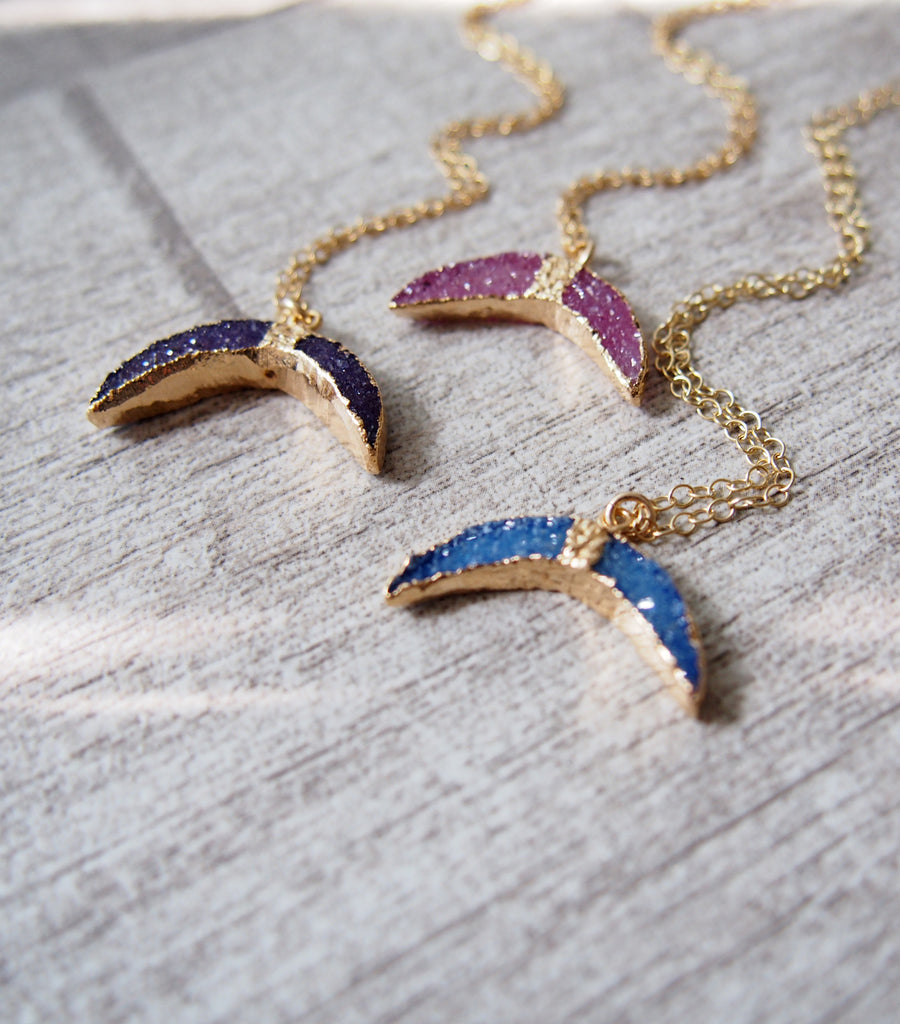 Fish Tail Druzy Gemstone Golden Pendant Necklace