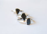 April Birthstone Raw Black Diamond Solitaire Gemstone Sterling Silver Ring
