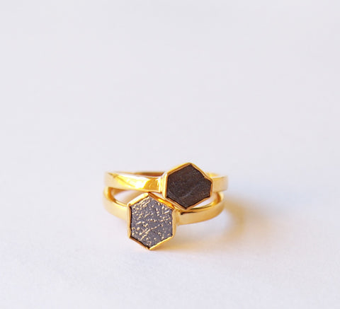 April Birthstone Raw Black Diamond Solitaire Gemstone Gold Plated Ring